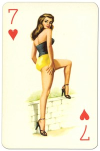 #PlayingCardsTop1000 – 7 of hearts Van Genechten Glamour Girls pinup cards