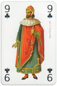 #PlayingCardsTop1000 – 9 of clubs Modiano deck Middle Ages