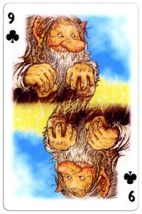 9 of clubs Trolls cartoons playing cards by Rolf Lidberg