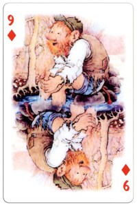 #PlayingCardsTop1000 – 9 of diamonds Trolls cartoons playing cards by Rolf Lidberg
