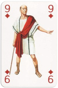 9 of diamonds from Gladiators deck designed by Severino Baraldi