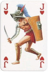 #PlayingCardsTop1000 – Jack of hearts from Gladiators deck designed by Severino Baraldi
