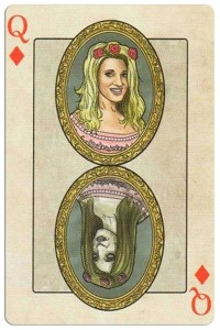 #PlayingCardsTop1000 – Queen of diamonds Edgar Allan Poe deck of playing cards by Bicycle