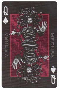 Queen of spades card from Inferno by Gustave Dore deck Bycycle