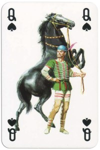 #PlayingCardsTop1000 – Queen of spades from Gladiators deck designed by Severino Baraldi