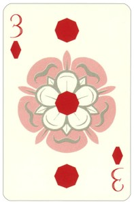 Wars of roses playing card 3 of diamonds