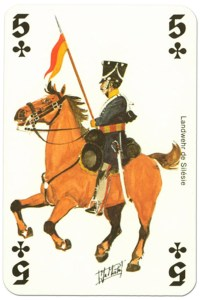 #PlayingCardsTop1000 – cavalry 5 of clubs Waterloo battle playing cards