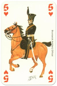 #PlayingCardsTop1000 – cavalry 5 of hearts Waterloo battle playing cards