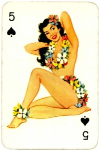 Dandy Pin up Bubble Gum advertisement cards 1956 Five of spades 10