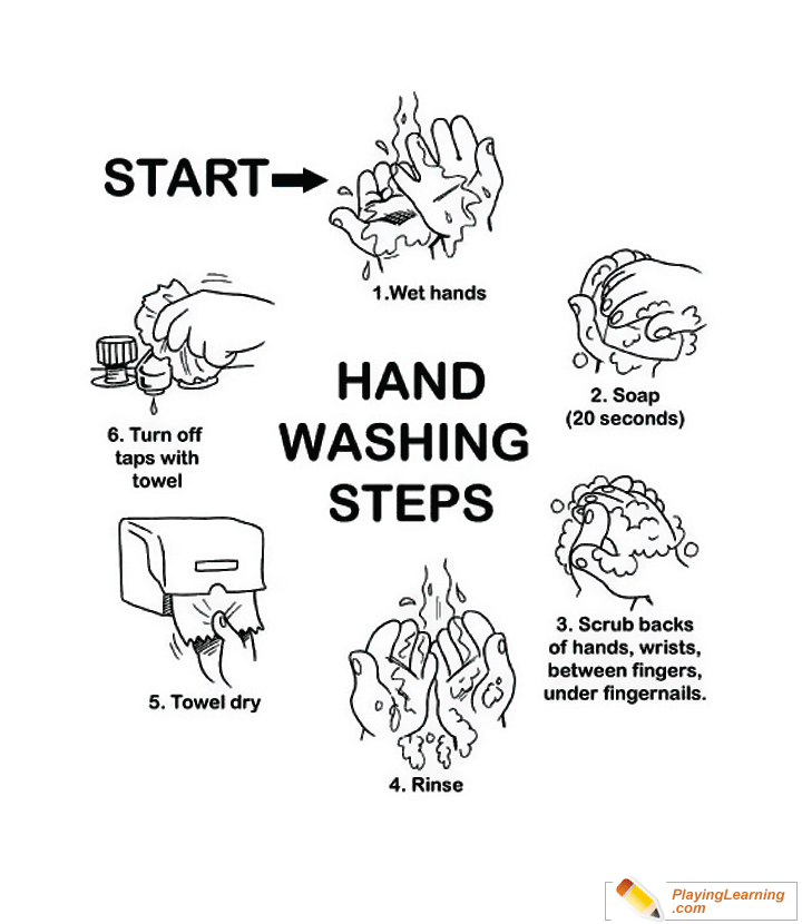 Flu Season How To Wash Hands Coloring Page 01 Free Flu Season How To Wash Hands Coloring Page