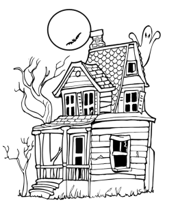 Halloween House Coloring Pages Playing Learning