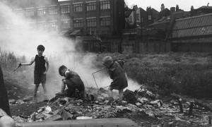 Children playing on a bombsite in London in 1954