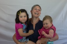 Julia Sang and her two children