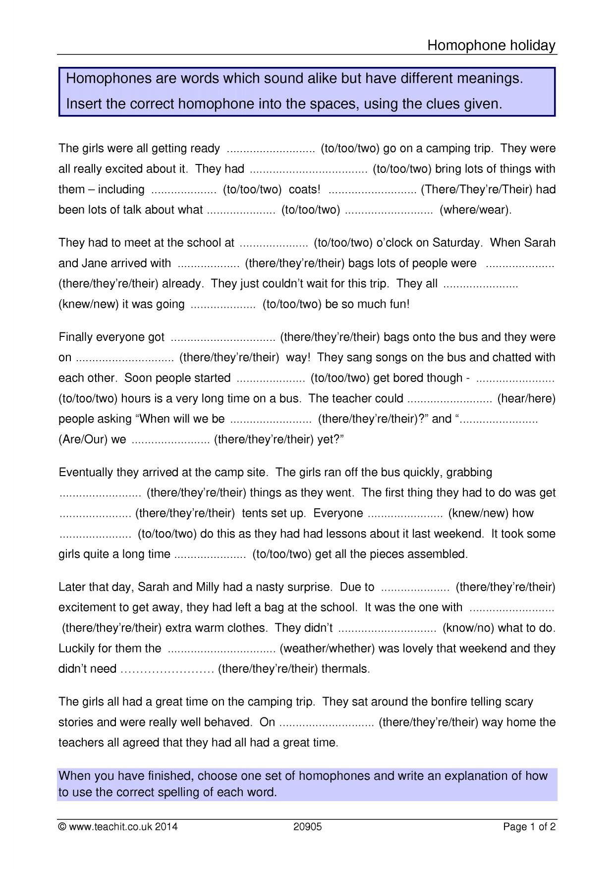 Homophone Worksheets Middle School