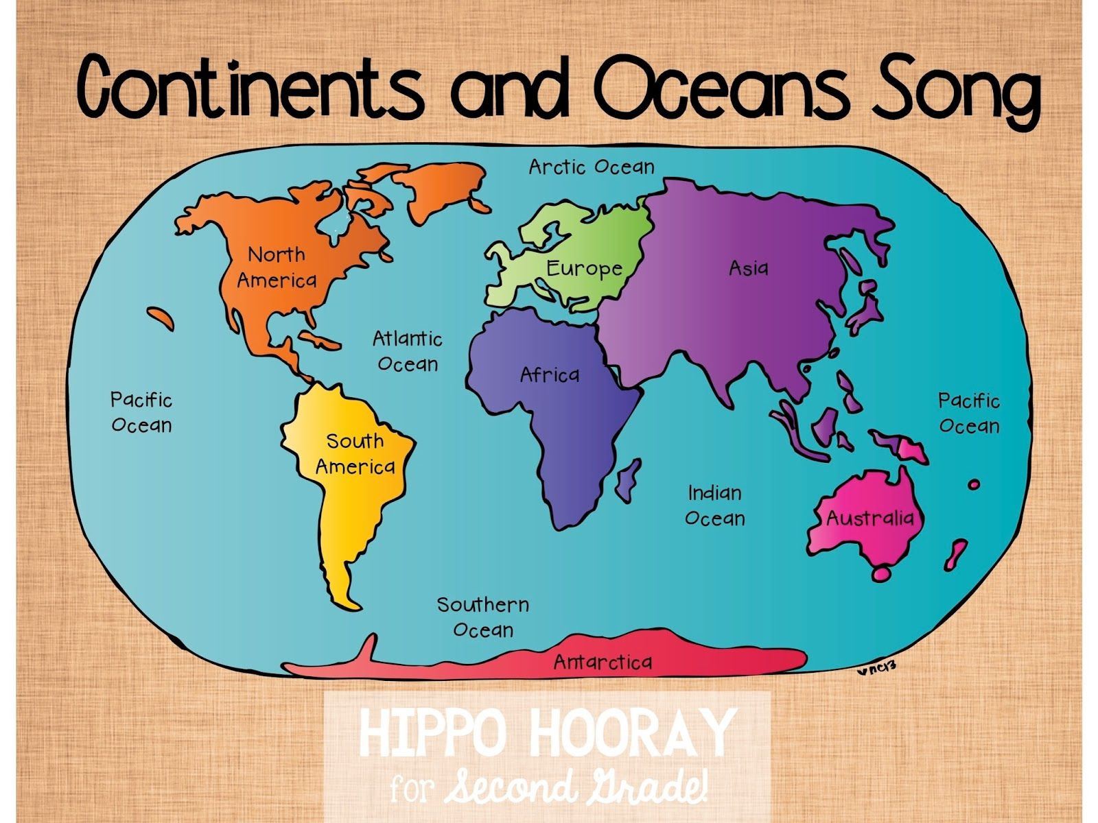 Label Continents And Oceans Printable