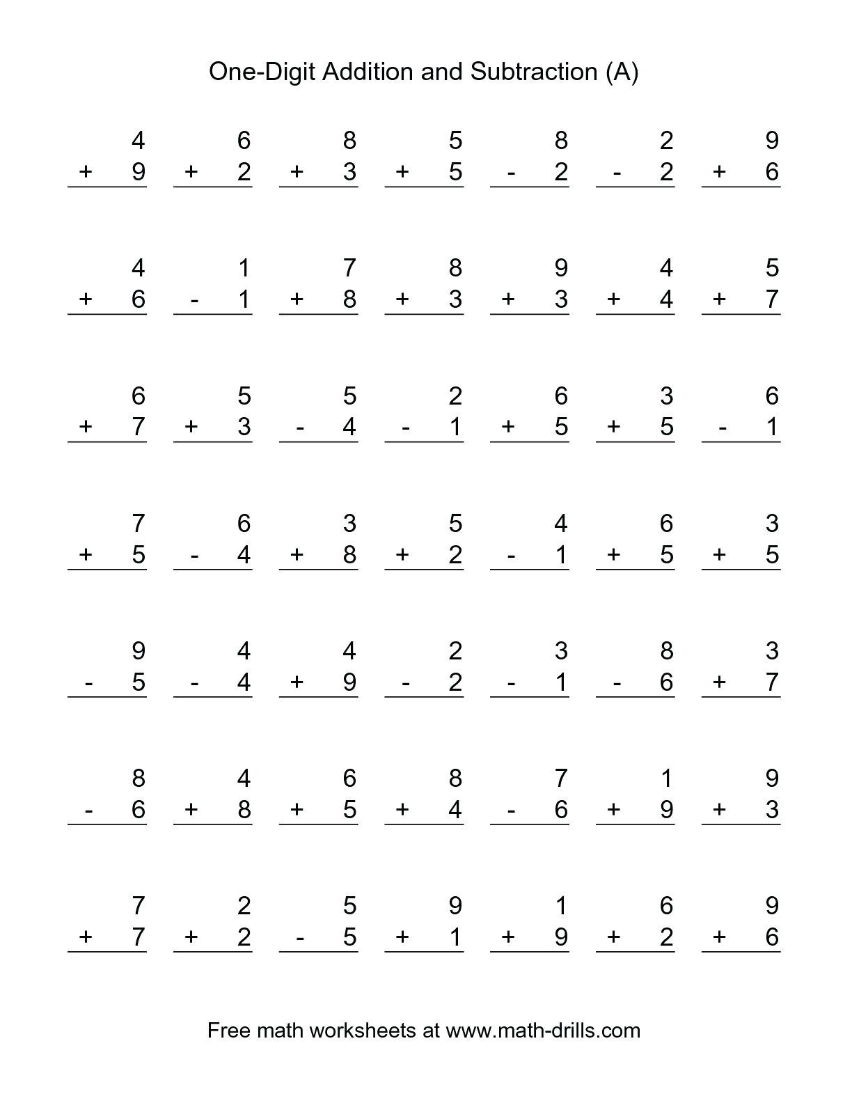 Free Touch Math Worksheets