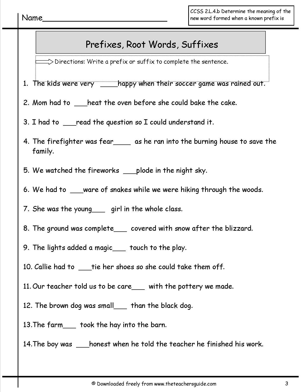 Suffix Worksheets 4th Grade