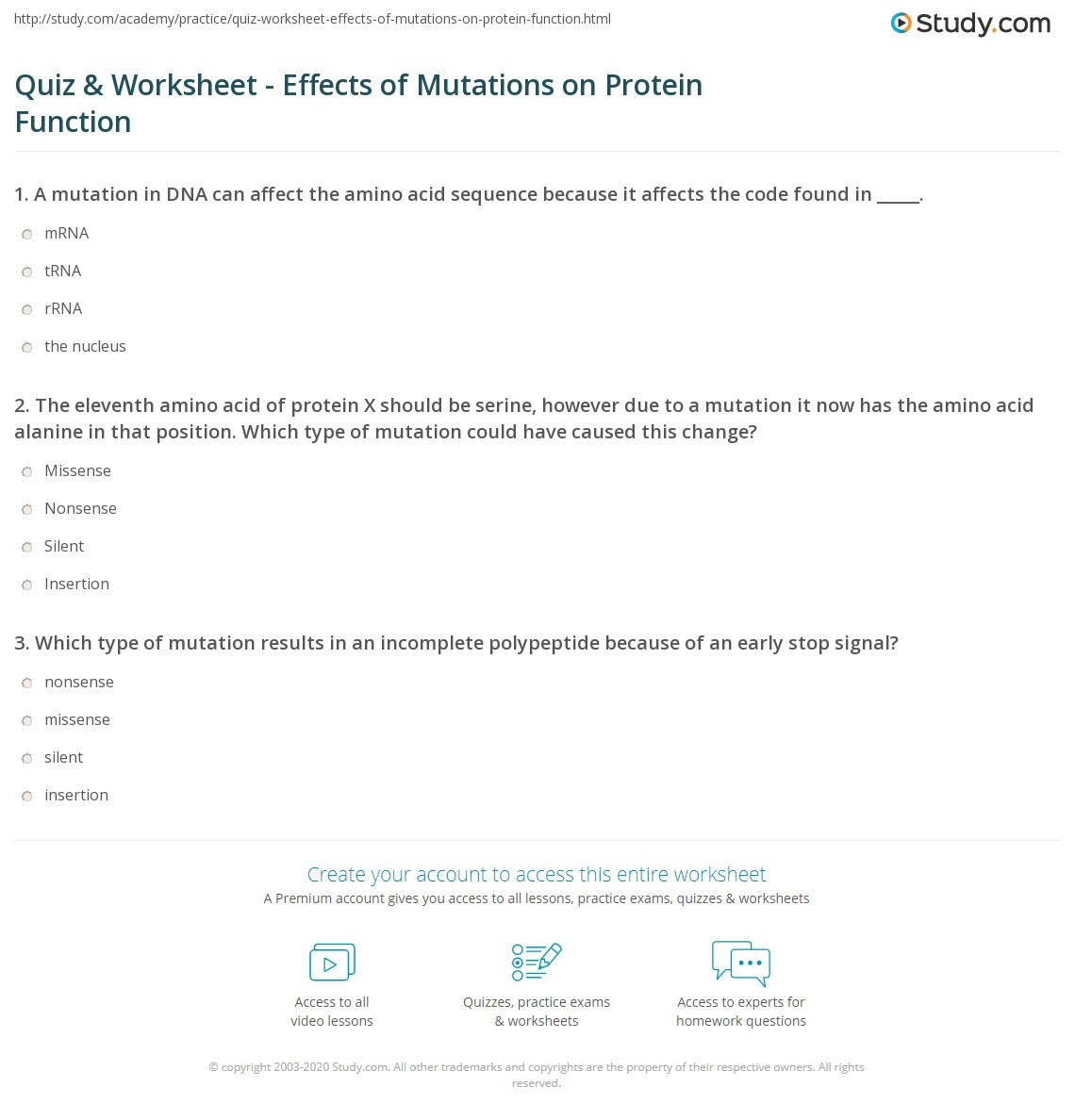 Mutations Worksheet Middle School