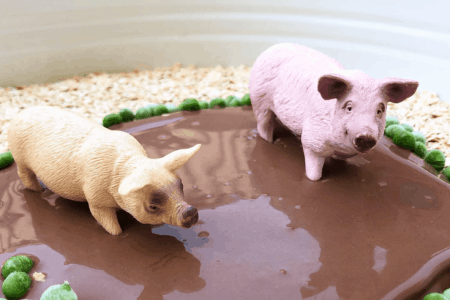 Taste safe muddy pigs sensory play
