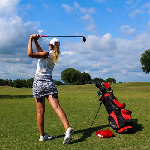 Hannah Gregg Golfing with PlayMakar TENS + EMS Muscle stimulator