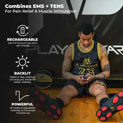 PlayMakar SPORT TENS + EMS Therapy, TENS unit, EMS device, TENS + EMS, Pain Relief and muscle stimulation