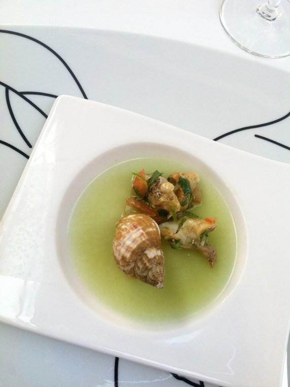 Unique prep. Cucumber gelatinous escargot deliciousness.