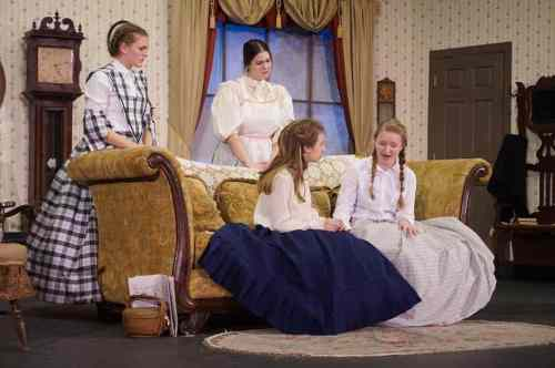 'Little Women' opens this Thursday! This scene features left to right Meg (Abigail Oldham), Hannah (Sarah Ciesluk) Jo (Taisha Linder) and Beth (Jaden Wendt) mourning the death of the Hummel baby. Tickets are available online at www.stagenorththeater.com or by calling 218-232-6810 or at the door. Photo by John Erickson