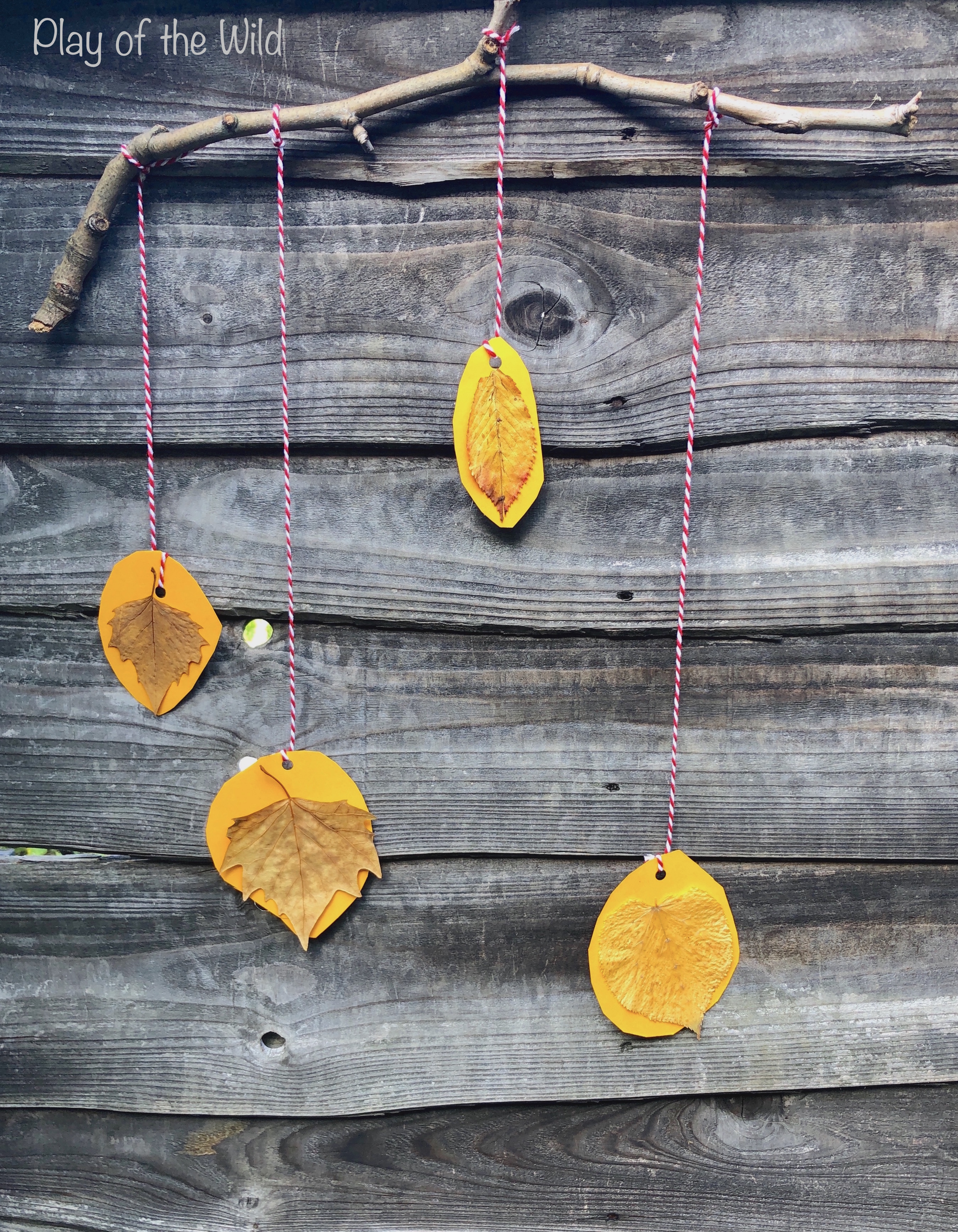 Simple fall leaf mobile made by young child.