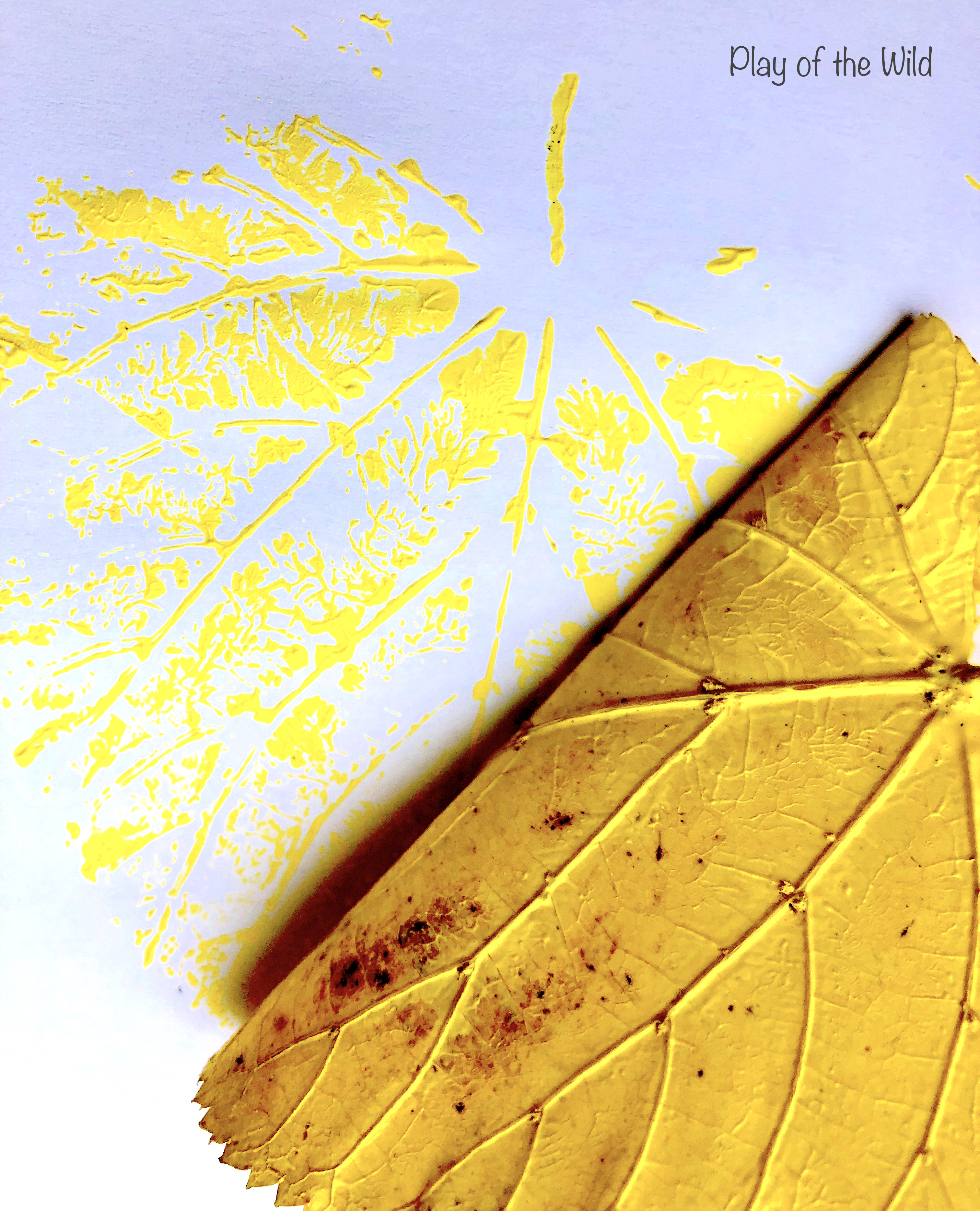Leaf printing with paint.