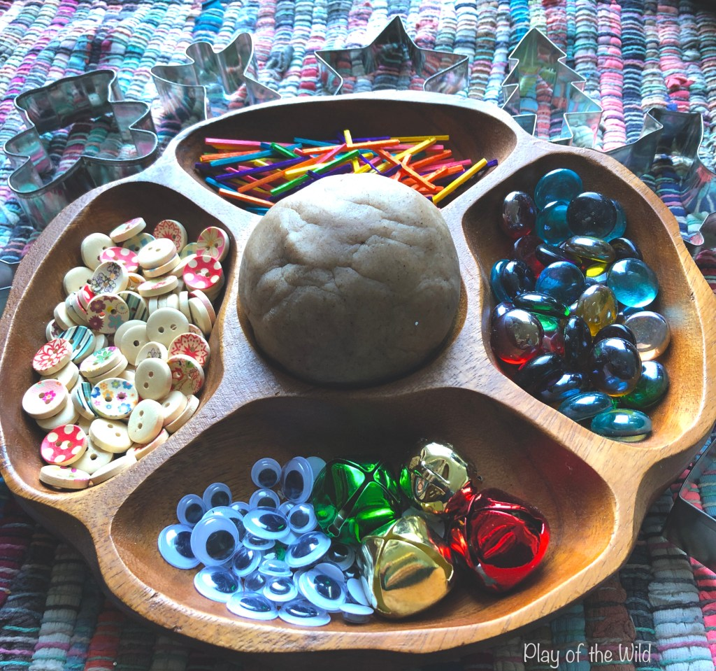 playdough and loose parts for creating playdough creations.