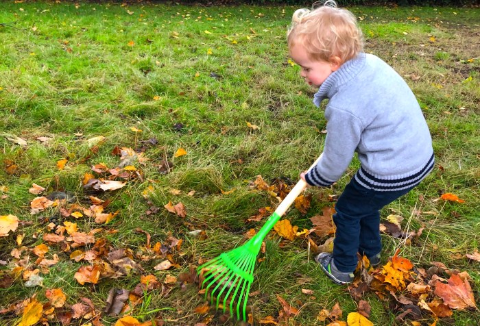 Outdoor Autumn & Winter Garden Activities for Children. Raking leaves.