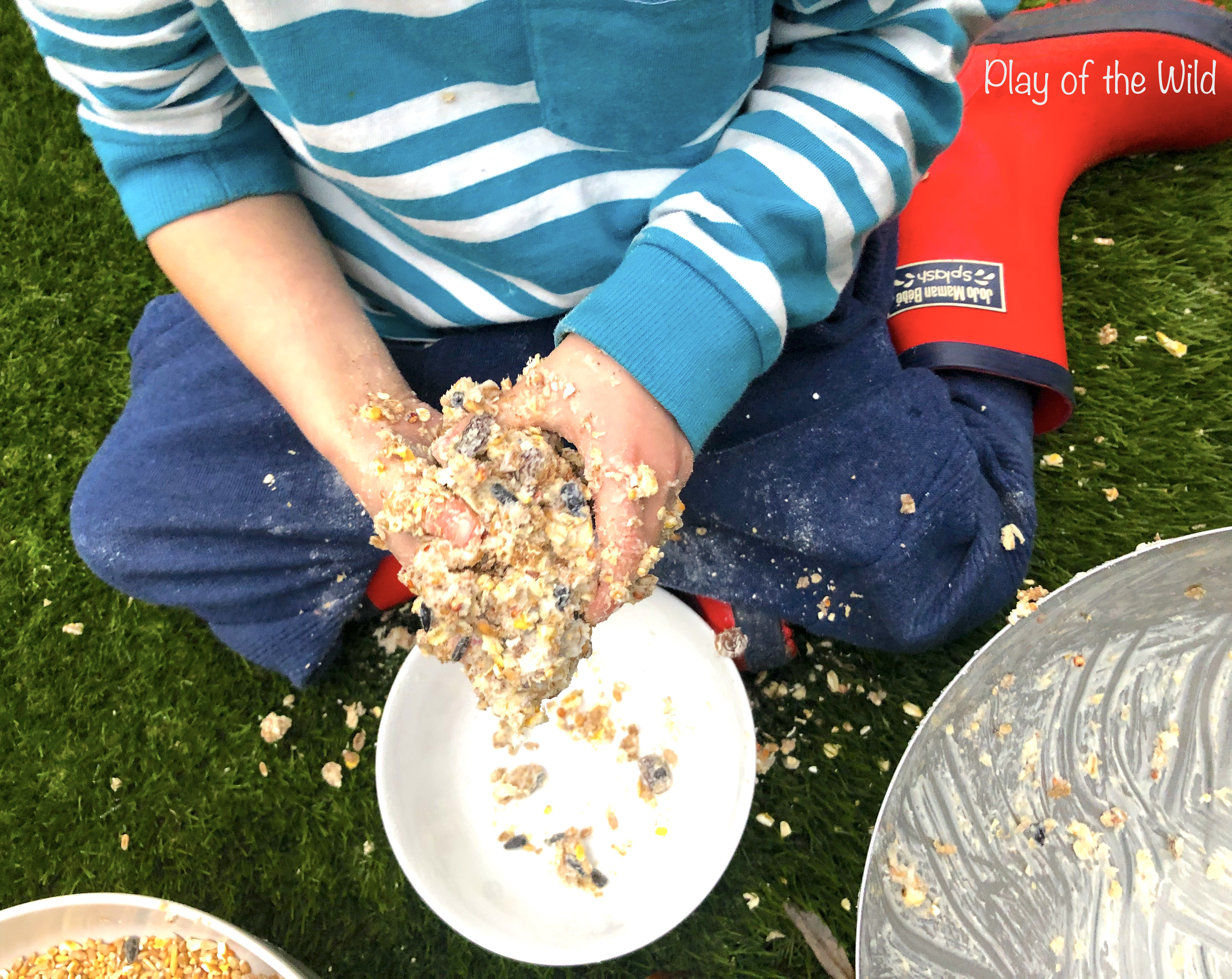 How to make a Bird Feeder without Peanut Butter (Suet Cake). handmade by children.