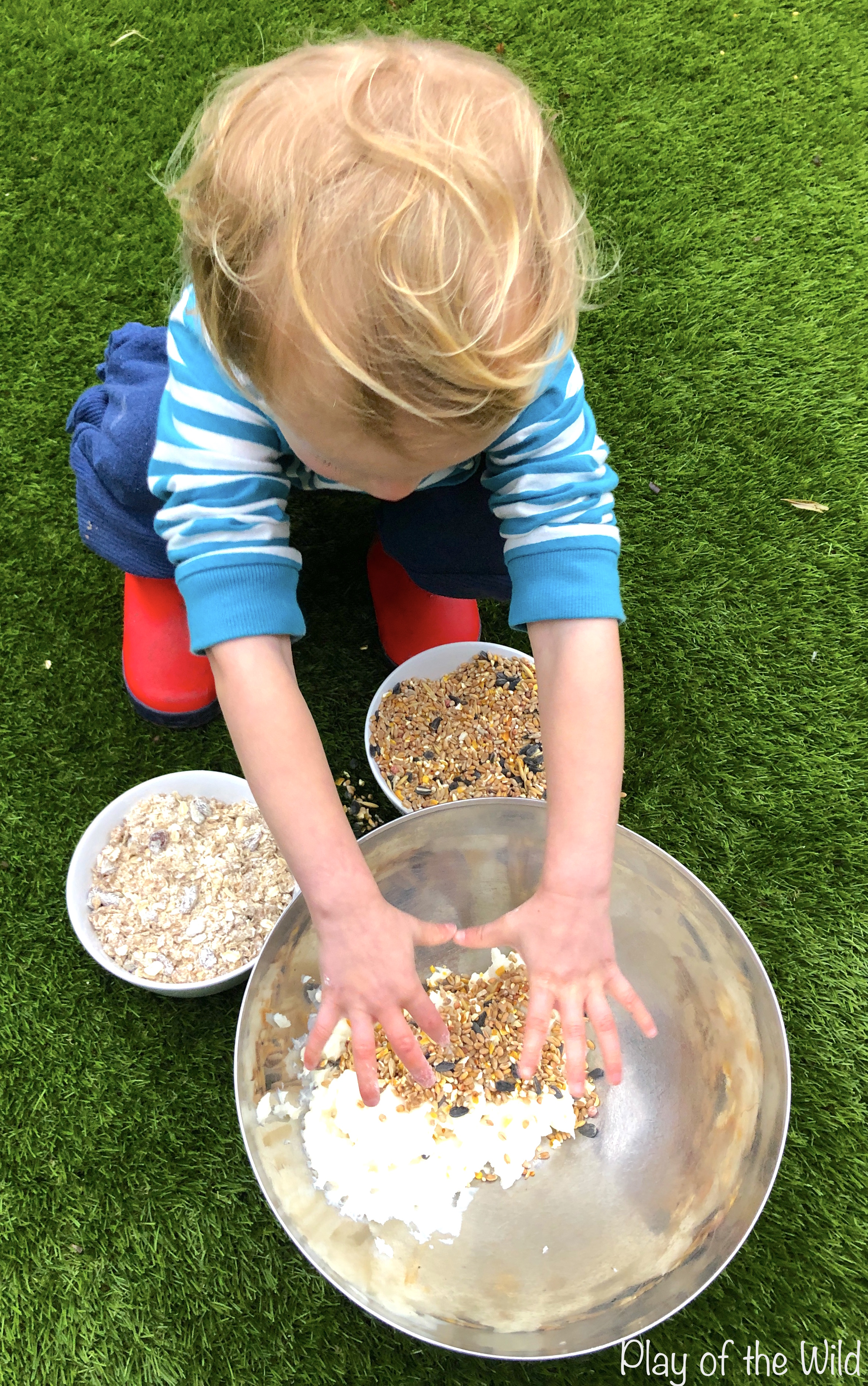 How to make a Bird Feeder without Peanut Butter (Suet Cake). mixing bird cakes.
