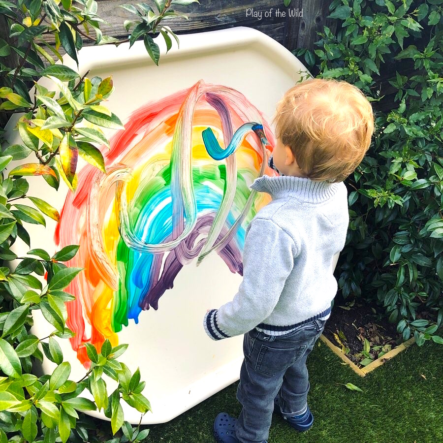 tuff spot painting activity for preschoolers gross motor skills.