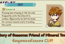 SoS Friend of Mineral Town Character Cliff cover playpost