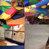 "A montage of four photographs of a parachute den play space. The first shows the den from a distance. You can see it is built from two colourful parachutes hung together creating a high sloping ceiling. A comfy blue mat pokes out from the den. The second shows the inside. There is a pile of story and fact books on the mat. Loose pieces of fabric a piled up and a small drum hangs from the ceiling. The third shows a upright board within the den which has been covered in paper for drawing. Assorted coloured pens lie on the floor and you can see there are lots of drawings that have been done including one which says ""beware of zombies!"". The fourth is a close up of a drawing which says ""yard"" in a blue cloud with red hand drawn underneath"