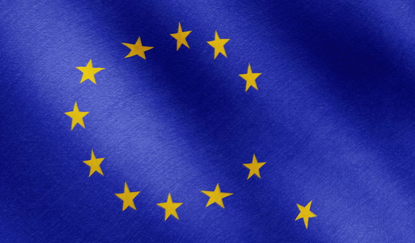The EU flag with a falling star because of Brexit