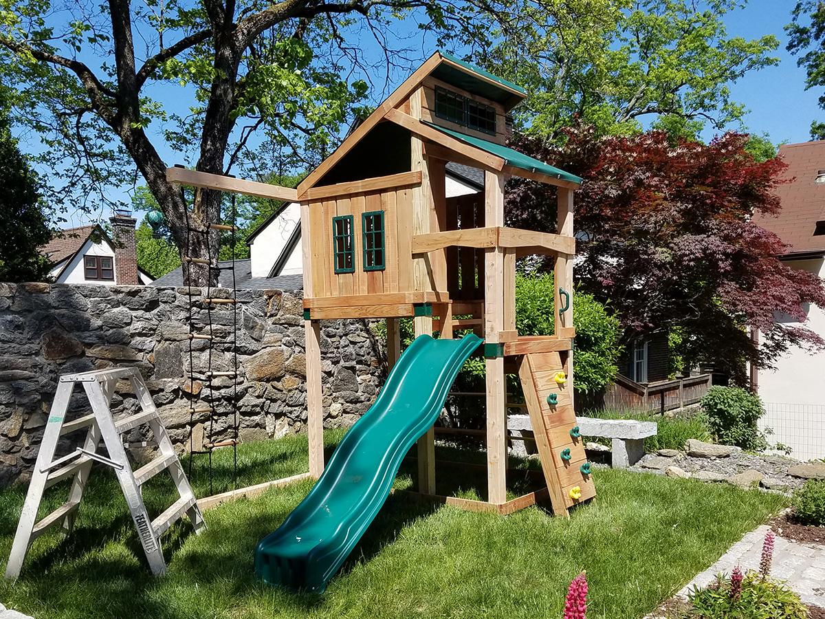 Swing-N-Slide Hideaway Swing Set Installation