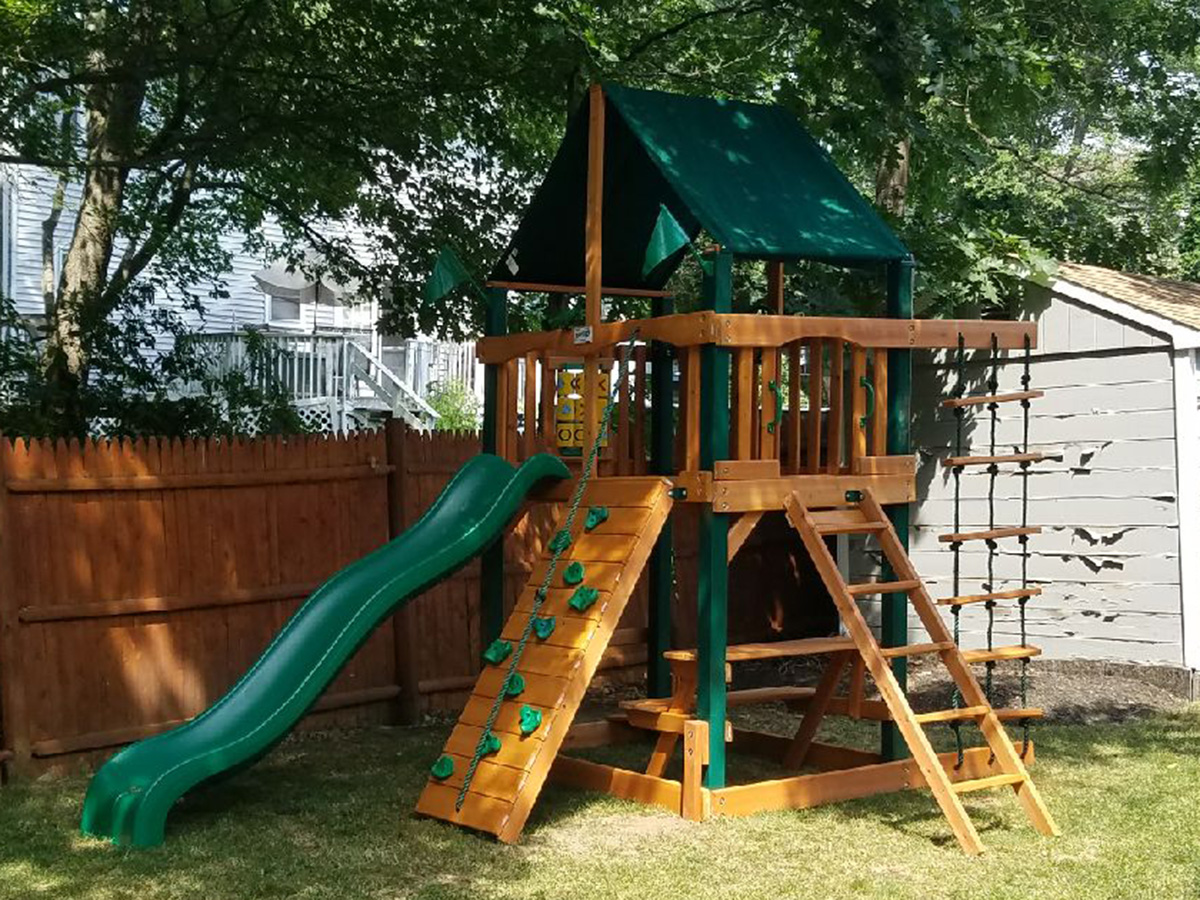 we assembled and installed this gorilla chateau tower playset in reading - Lifetime Adventure Tower Playset