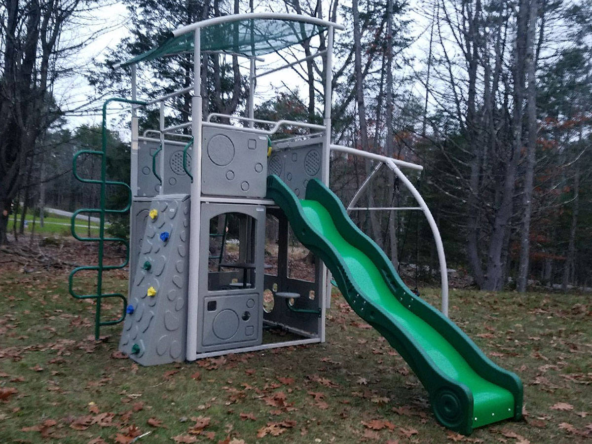 Backyard Discovery Castle Grey Metal Swing Set Installation in Brunswick, ME