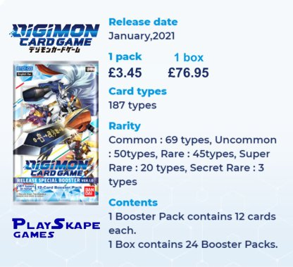 DIGIMON Card Game: RELEASE (BASE SET) SPECIAL BOOSTER BOX VER.1.0 INFORMATION SHEET