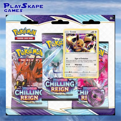 Eevee-Chilling-Reign-Promo-Triple-Blister-Booster-Pack-Promo-SWSH118-Holo-Cards-Pokemon-TCG