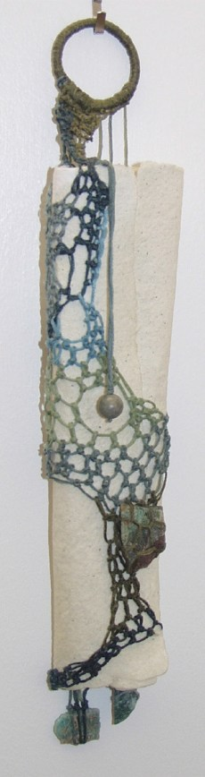 "Message: Art is a way of finding out, handmade paper, cotton, agate, natural turquoise, 12""H"