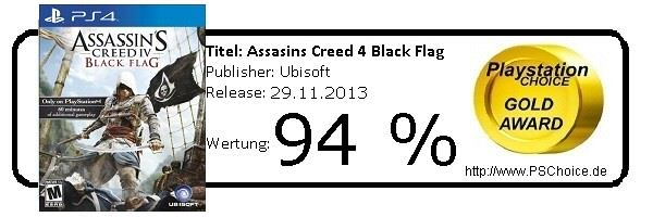 Asassins Creed 4 Black Flag PS4 - Die Wertung von Playstation Choice