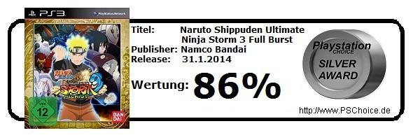 Naruto Shippuden Ultimate Ninja Storm 3 Full Burst Playstation 3 - Die Wertung von Playstation Choice
