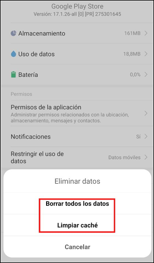 Eliminar datos Google Play Store