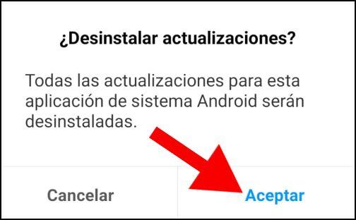 desinstalar actualizaciones App
