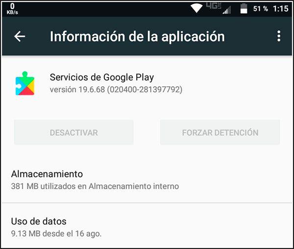 Información de servicios de Google Play