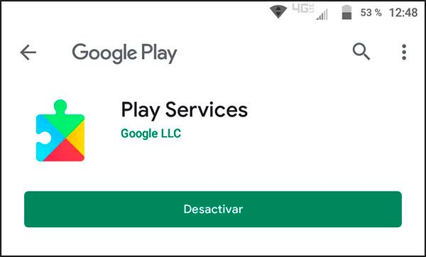 Opciones de Google Play Services en Google Play