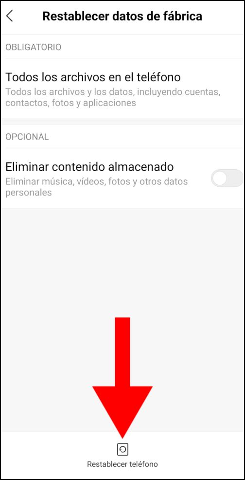Restablecer datos Android